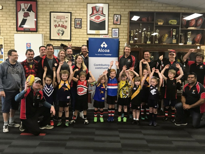 Alcoa employees were among a group of volunteers who assisted the Rockingham Football, Sporting and Social Club run an Auskick Gala Training and Game Day at Anniversary Park in late July.