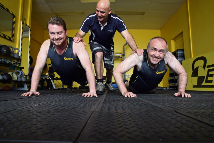 Scott Wallace and Steve Webster with Energym owner Gary Hinton (centre). Picture: 	Martin Kennealey