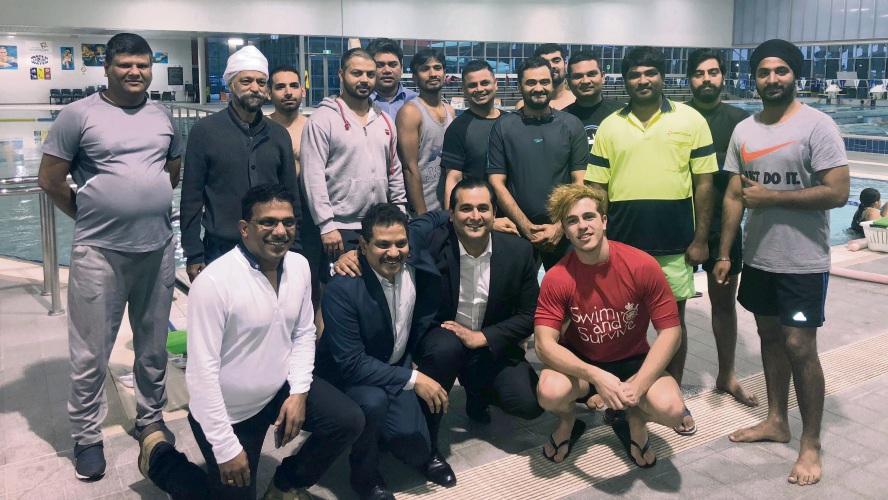 Jandakot MLA Yaz Mubarakai with members of the Indian Society of WA at Cannington Leisureplex.