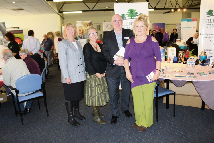 Palliative Care WA executive officer Lana Glogowski, Perth Death Collective end of life practitioner Shoalia Fitzgerald, Royal Australian Air Force Association WA chief executive John Murray and spiritual healer Susan Ashley at the Dying to Know Day expo.