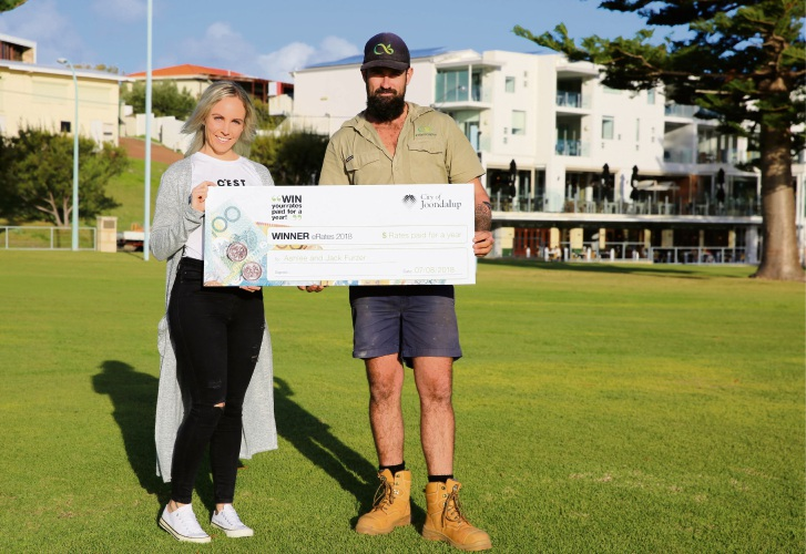Ashlee and Jack Furzer won the City of Joondalup's inaugural eRates prize draw.