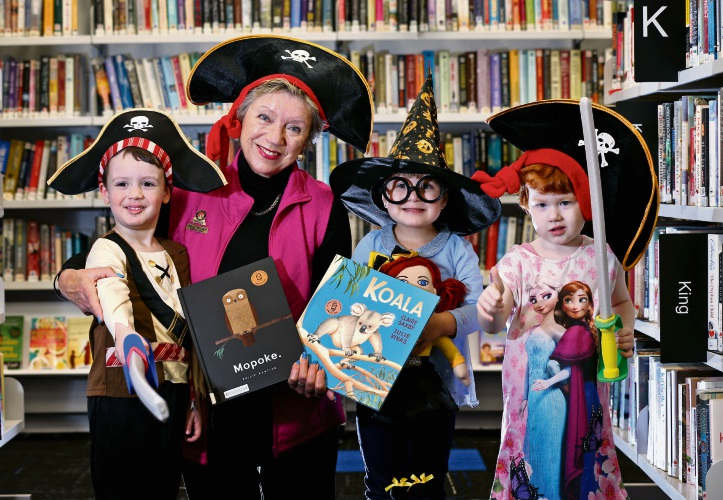 L-R: Vasili (3), Cr Sally Palmer (City of Bayswater), Ella (3) and Anita (3) at Morley Library.  Bayswater, Maylands and Morley libraries will host pirate-themed parties on Saturday 25 August to celebrate Children''s Book Week. Picture: David Baylis
