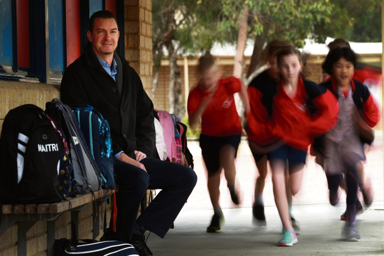 West Beechboro PS teacher Anthony Horn has been named a finalist in the WA Education Awards for the WA Premier's Primary Teacher of the Year category. It is the second-straight year he has been a finalist. Picture: Andrew Ritchie