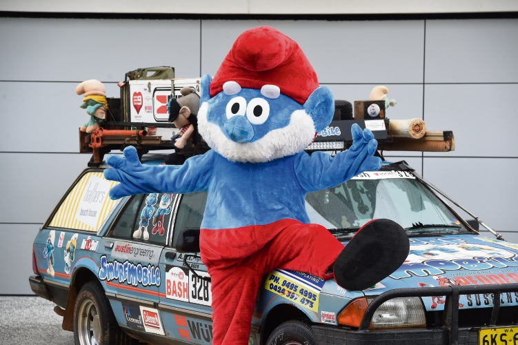 Alan Douglas' travelling companion Paul Sergiojew in his Papa Smirf outfit ahead of this year's Variety WA Bash.