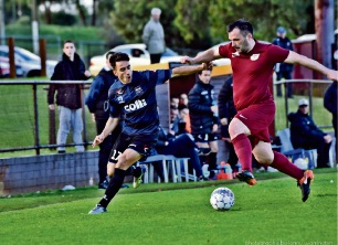 Bayswater City player Gian Albano (left). Photo: Jonny Warrington Photography