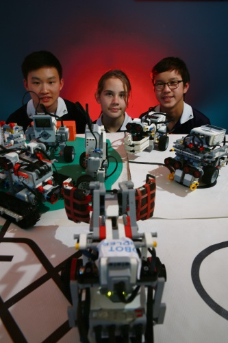 Adrian Tan (y12), Pippa Sanderson (y8) and Isaac Hiew (y8) Shenton College students participated in this year's RoboCup, the state's premier robotics competition for school students. Picture: Andrew Ritchie