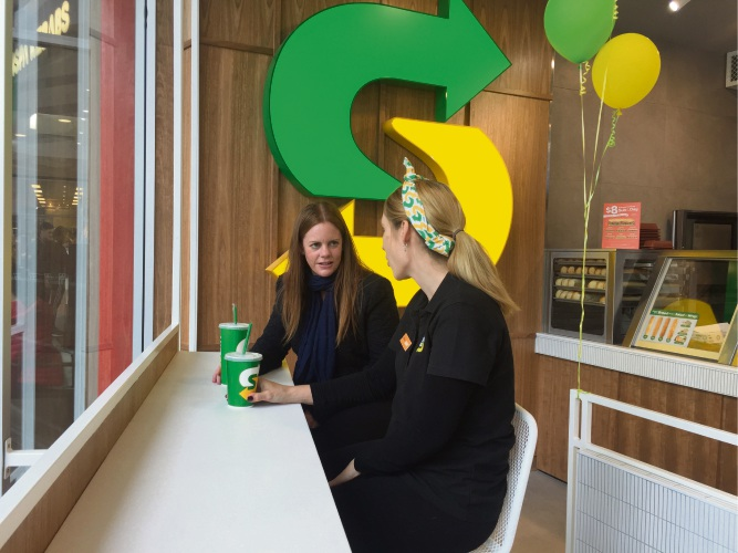 Editor Denise Cahill chats to Watertown Subway owner Kylie Sutton