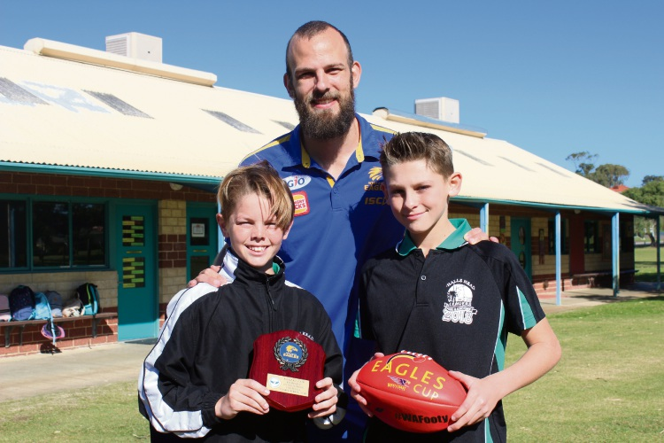 Kyelan Sanders, West Coast Eagles player Will Schofield and Jaden Funazzi.