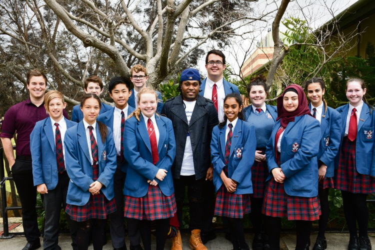 Michael Jakarimilena with John Septimus Roe Anglican Community School students and staff.