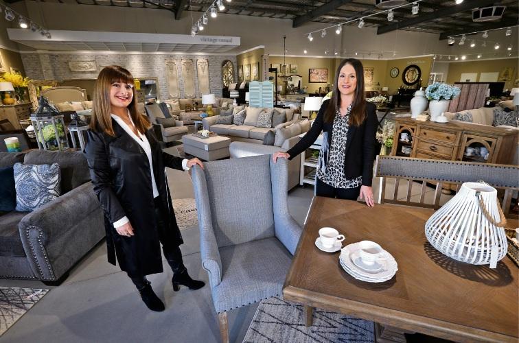Ashley Furniture Homestore directors Sophie Langa and Chrissy Palmer. Picture: David Baylis d485179
