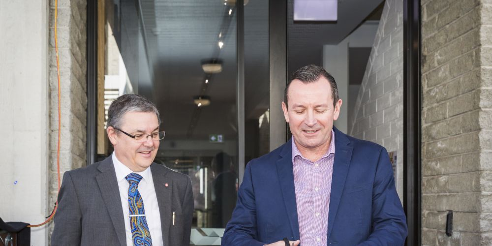 ECU Vice-Chancellor Professor Steve Chapman and WA Premier Mark McGowan. Photo by; Stephen Heath Photography