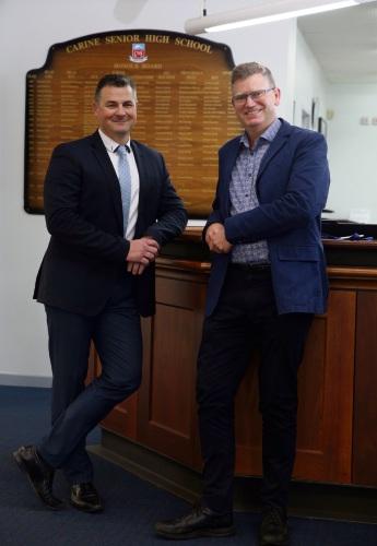 Carine SHS principal Damian Shuttleworth and teacher Daniel Hugo. Photo: Martin Kennealey