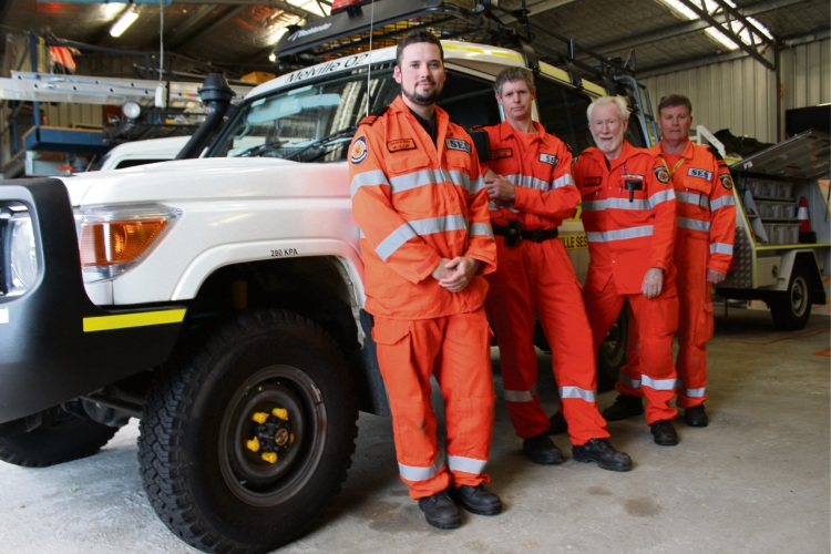 Melville State Emergency Service Unit manager Andrew Treen, deputy manager of operations Anthony Richards, volunteer David Bulfield and training manager Greg Hewitt at the organisation's base. Picture: Aaron Corlett.