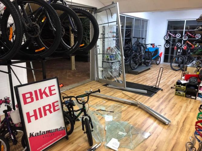 Kalamunda Cycles posted CCTV and images of the break-in on its Facebook page. Picture: Kalamunda Cycles/Facebook