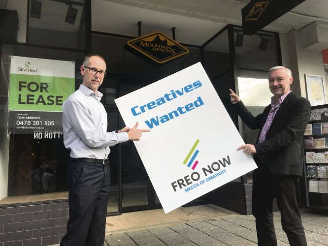 Mark Douglas (Treasurer) and Karl Bullers (Chair) of Freo Now calling for creatives for leases in the Fremantle CBD.
