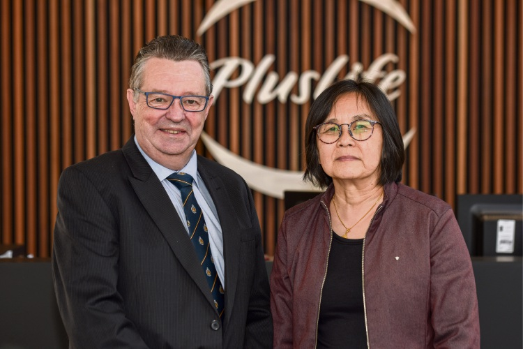 Professor Andrew Smith with PlusLife research and development coordinator Ying Fan.