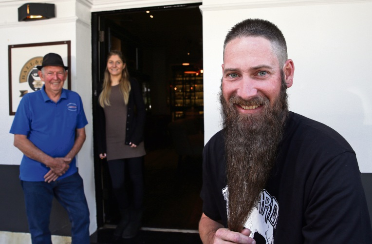 Bill Johnstone (President Fremantle Men's Community Shed), Marie Perez (Fremantle Barber Co ) and Tyron Fitzpatrick (Thornlie). Where: Fremantle. What: Best Beard Competition. Photographer: Martin Kennealey