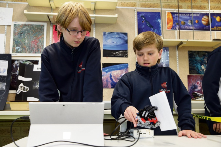 Year 8 students Elisha Adams and Tristan Cartwright. Picture: Martin Kennealey