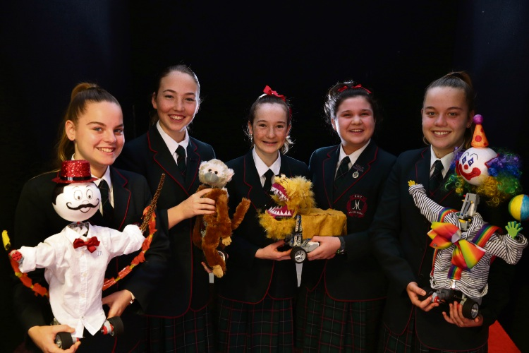 Santa Maria College students Abbey Winship, Abby Young, Niamh Smithies, Claudia Cirocco and Lauren Winship with their robots. Picture: Martin Kennealey