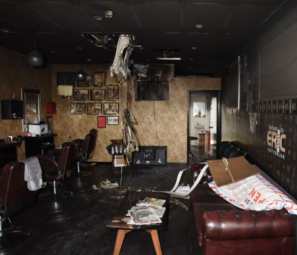 Some of the damage at Barbers on Eric.