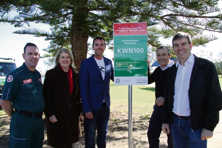 : St John Ambulance Area Manager Brendan Saich, City of Kwinana Mayor Carol Adams,  Rick Gerring, MLA Roger Cook and Fisheries Minister Dave Kelly with the BEN sign.