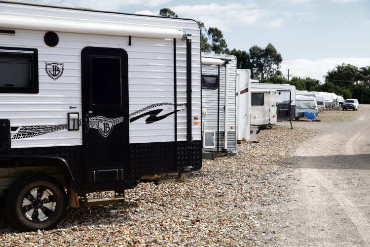 Caravans stored on the property. Picture: Martin Kennealey