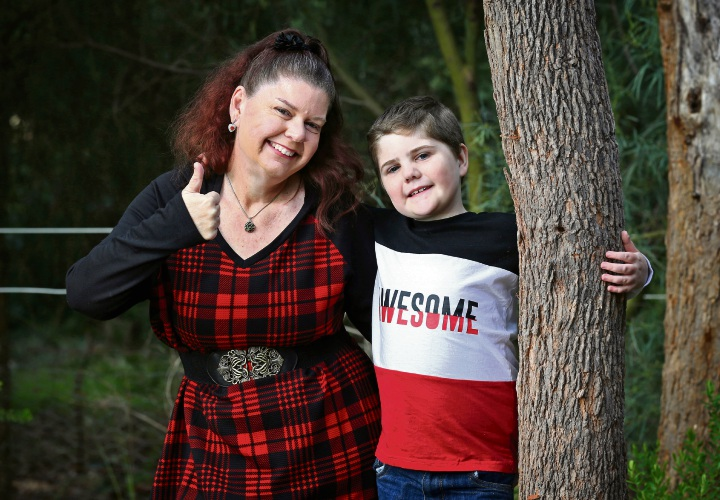 Melissa Gibson of Mt Helena with her eight-year-old son Toby. Photo: David Baylis
