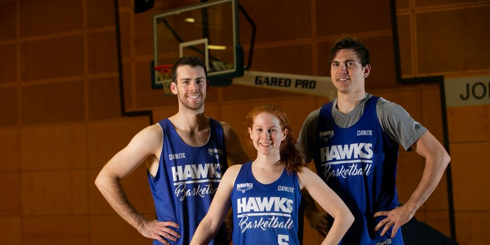 Perry Lakes Hawks SBL captains Rob Cassir, Kate Anthony and Ben Purser. Picture: Travis Hayto