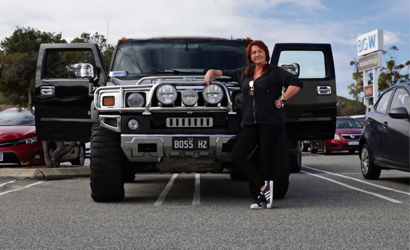Gillian Bromley (Sorrento) with her Hummer H2. Picture: Martin Kennealey d485937