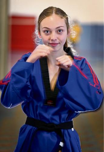 Sonya Peric-Ratten (14) of Morley (2nd Dan in Taekwon-Do).  Picture: David Baylis www.communitypix.com.au d485887