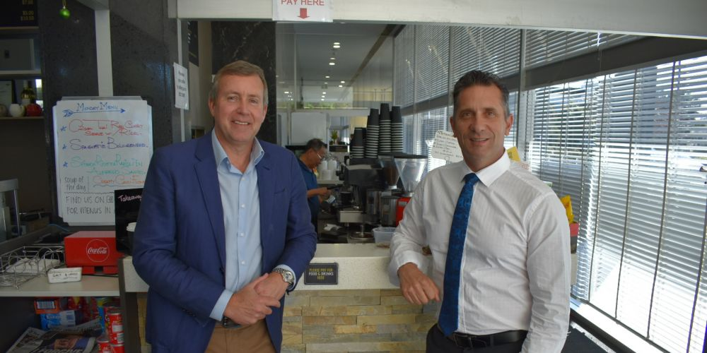 Baldivis MLA Reece Whitby and Minister for Small Business Paul Papalia.