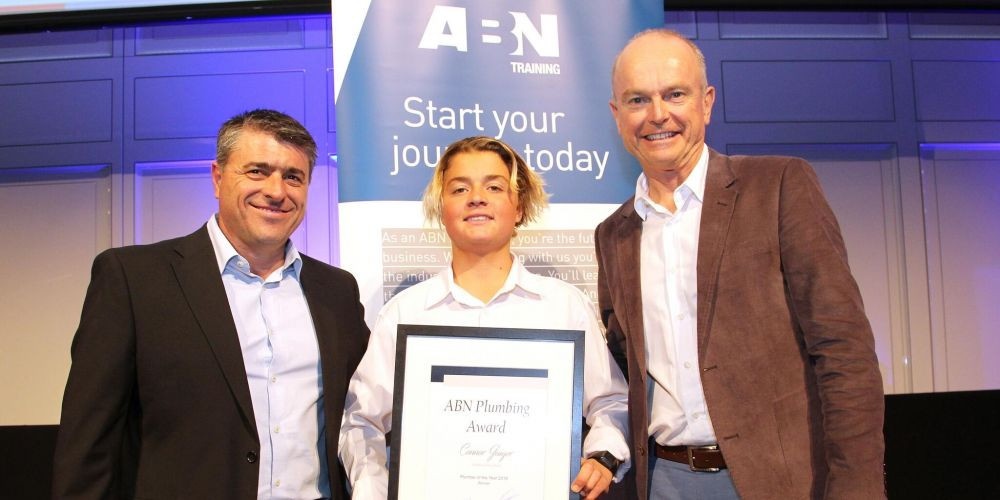 (Left to right) - Loris Moriconi (GTO Manager, ABN Group), Connor Gaiger & Dale Alcock (Managing Director, ABN Group)
