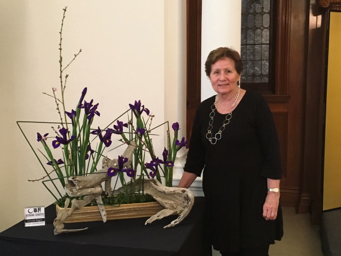 Ursula Pagels with one of her Ikebana flower arrangements.