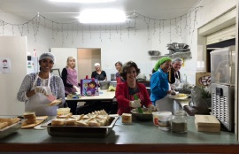 Volunteers at C3 Langford church in the kitchen ahead of a Love Langford dinner.