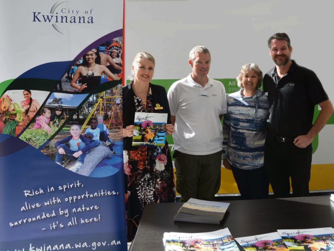 Mayor Carol Adams, Deputy Mayor Peter Feasey, Councillor Wendy Cooper and Councillor Matthew Rouse at Kwinana Marketplace event.