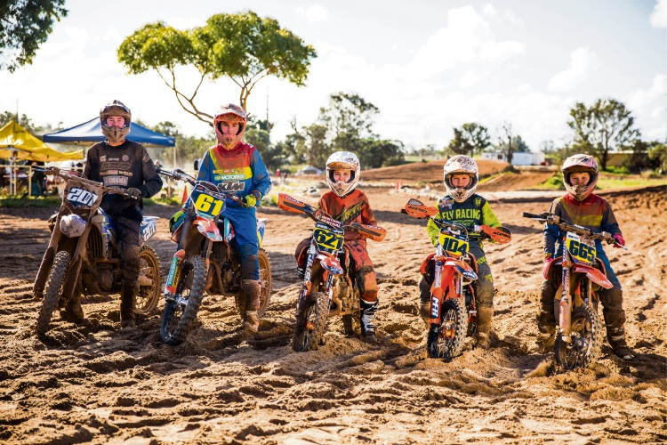 Competitors for the World Junior Motocross Championships – Mat Fabry, Regan Duffy, Deacon Paice, Kayden Minear and Seth Shackleton. Picture: Jack Foley