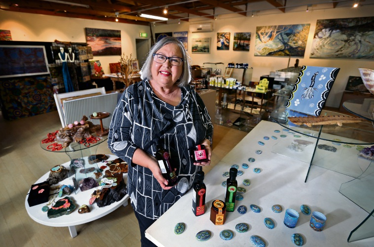 Dale Tilbrook, here in her Maalinup Aboriginal Gallery, is one of the ambassadors for the 2018 Entwined in the Valley. Picture: David Baylis.