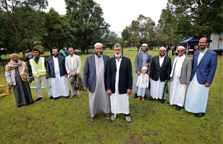 Saleh Ibrahim and Nusruddeen Moosuddee with others at the celebrations. Eid al-Adha is the most important festival in the Islamic calendar, with Muslims across the world celebrating the major event and the Islamic Centre of WA celebrating at Whiteman Park. Picture: David Baylis.