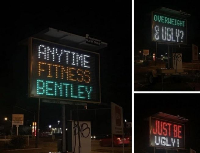 A sign at a popular gym is getting plenty of attention online.