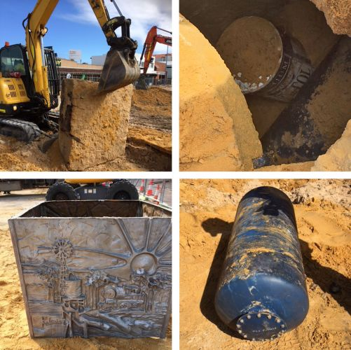 During works on the Rockingham Beach Foreshore Revitalisation construction teams retrieved a time capsule from 2001. Pictures: City of Rockingham