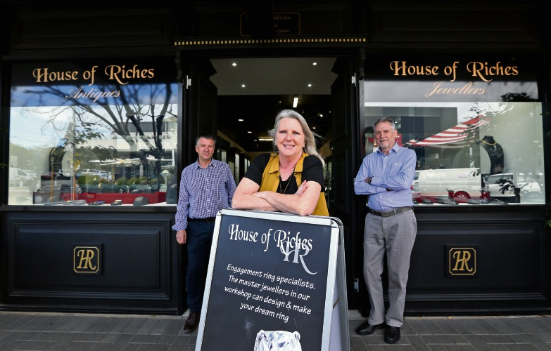 Simon Sullivan and Ann and Fred Broadley outside House of Riches that is closing down after 37 years. Picture: David Baylis.