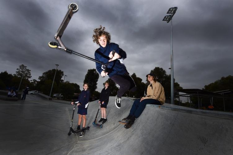 Cody Cleggett (jumping, Yr9) Yr 9's Back L to R - Hunter Moore, Cameron Giles & Jai Grant. Photo: Jon Hewson