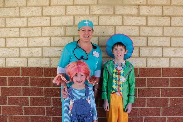 Educational assistant Fleur Ritter, left, Year One student Pippa McLoghin and Year Four student Jack Waleker. Picture: Victoria Rifici.