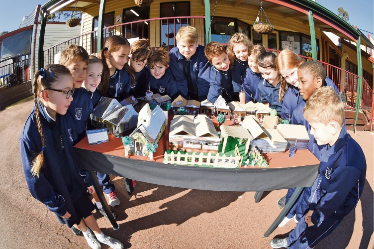 Students aged 5-8 from Pioneer Village created a model of their school. Photo: Jon Hewson d486047 communitypix.com.au