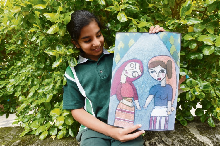 St Jerome's Primary School student Vrindha Yarramreddy with her piece