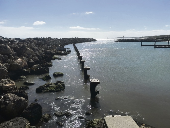 The western timber jetty at Ocean Reef Boat Harbour has been removed.