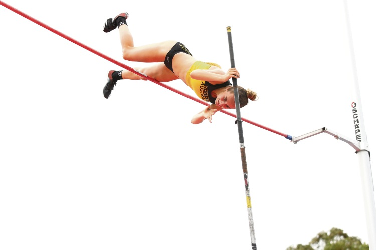 Lauren Hyde-Cooling flying high early this year at the Australian Junior Athletics Championships. Picture: Getty Images