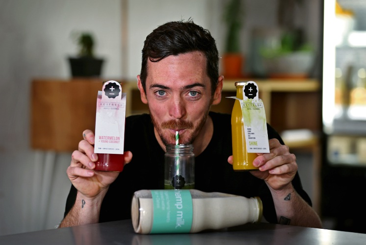 Liam O'Neil, owner of Re:Fresh Juice + Cleanse, located at 11 King William Street in Bayswater.  They sell a range of juices and also recently became the first Australian business to produce Hemp Milk. Picture: David Baylis www.communitypix.com.au   d486092