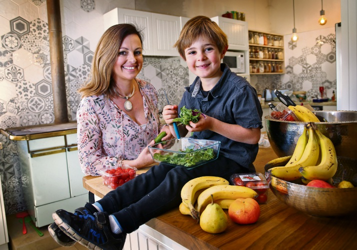 Nutritionist Beth Bonfiglio of Helena Valley with her five year old son Ryder. Photo: David Baylis