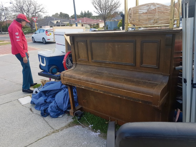 The discarded piano on the verge in Madeley.